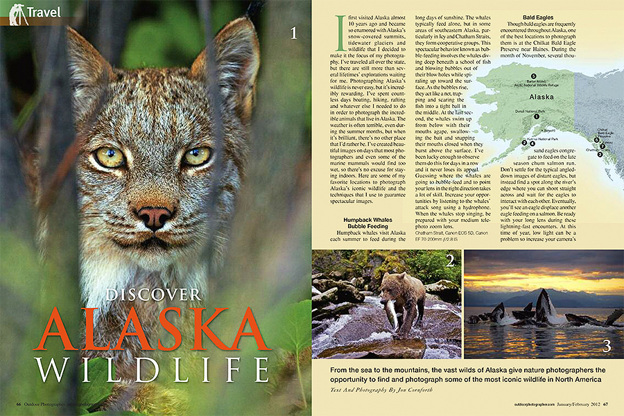 Outdoor Photographer February 2012 Discover Alaska Wildlife Article