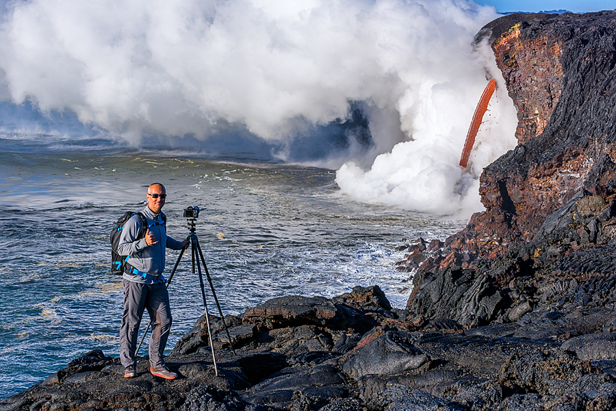 Jon Cornforth Photographing Lava